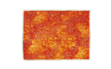 Rectangular frozen pizza base with tomate